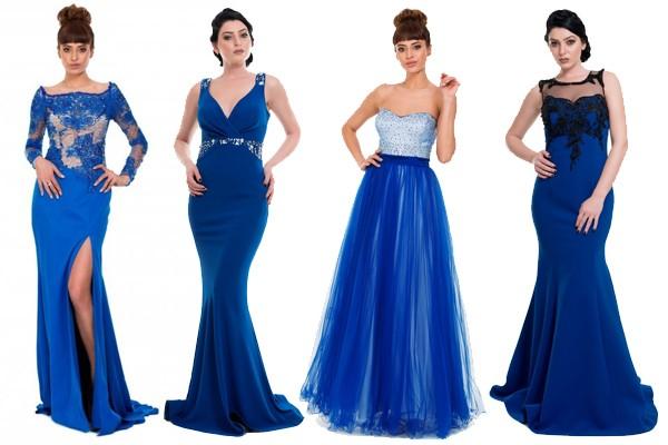 Saks mavi abiye elbiseler