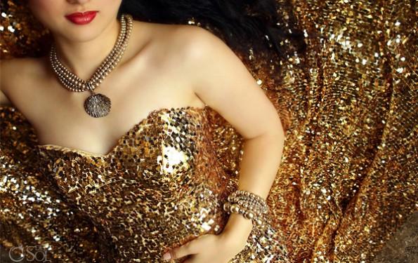 Altın Rengi Abiye Elbiseler